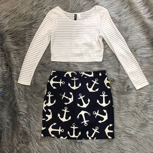 J.crew Navy Anchor Skirt